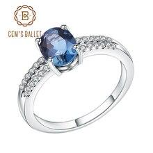 Gem ballet s ballet halo 1.57ct natural londres azul topázio noivado anel de promessa 100% 925 prata esterlina anéis para as mulheres jóias finas