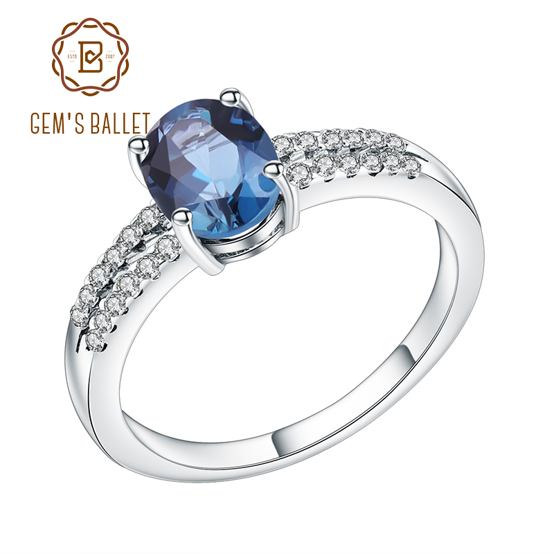 Gem's Ballet Halo 1.57Ct Natural London Blue Topaz Engagement Promise Ring 100% 925 Sterling Silver Rings For Women Fine Jewelry