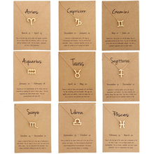 New Fashion 12 Constellation Necklaces for Women Aries Capricorn Taurus Necklace Gold Silver Message Card Pendant Jewelry Gifts