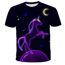 Kids Girl T Shirt Summer Baby Girls Polyester Tops Toddler Tees Clothes Children Clothing Unicorn T-shirts Short Sleeve Wear