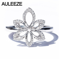 AULEEZE 18K White Gold Diamond Ring Exquisite Flower Office Lady AU750 Real Diamond Ring