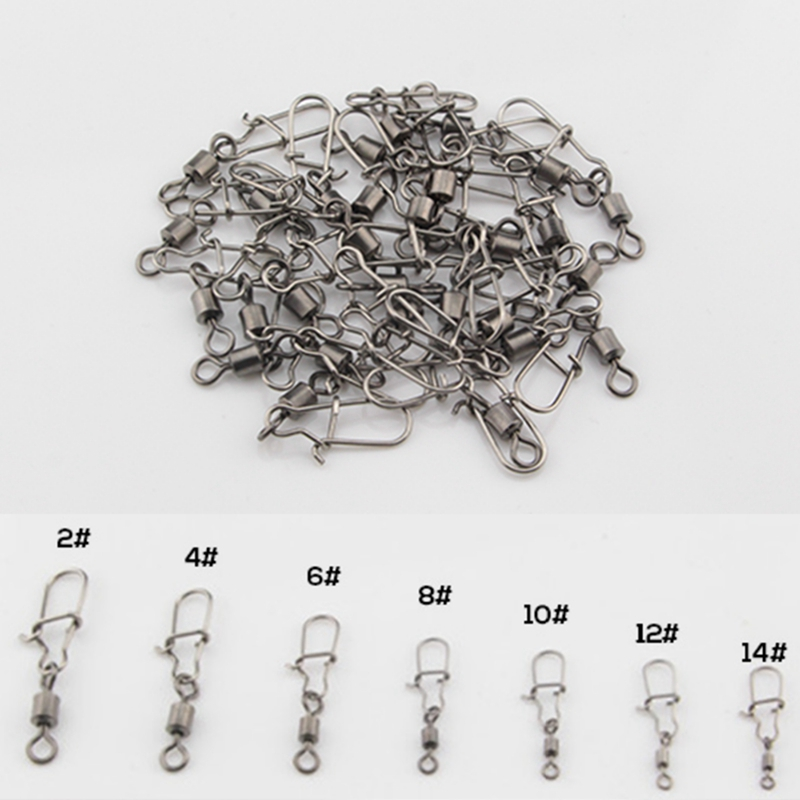 30Pcs 2#-14# Stainless Steel Fishhook Fishing Connector Pin Bearing Rolling Swivel Snap Pins Fishing Tackle Accessories