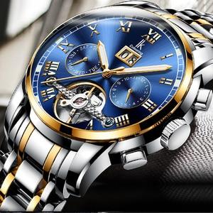 Image 2 - Ik着色高級メンズ腕時計自動スケルトン機械式時計防水カレンダー腕時計