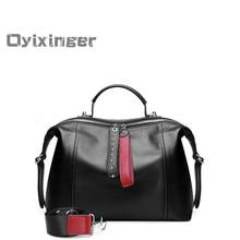 Fashion Black Luxury Handbags Women Handbag British Boston Bag Cowhide Messenger Bags Designer Rivets Genuine Leather Tote Bag стоимость