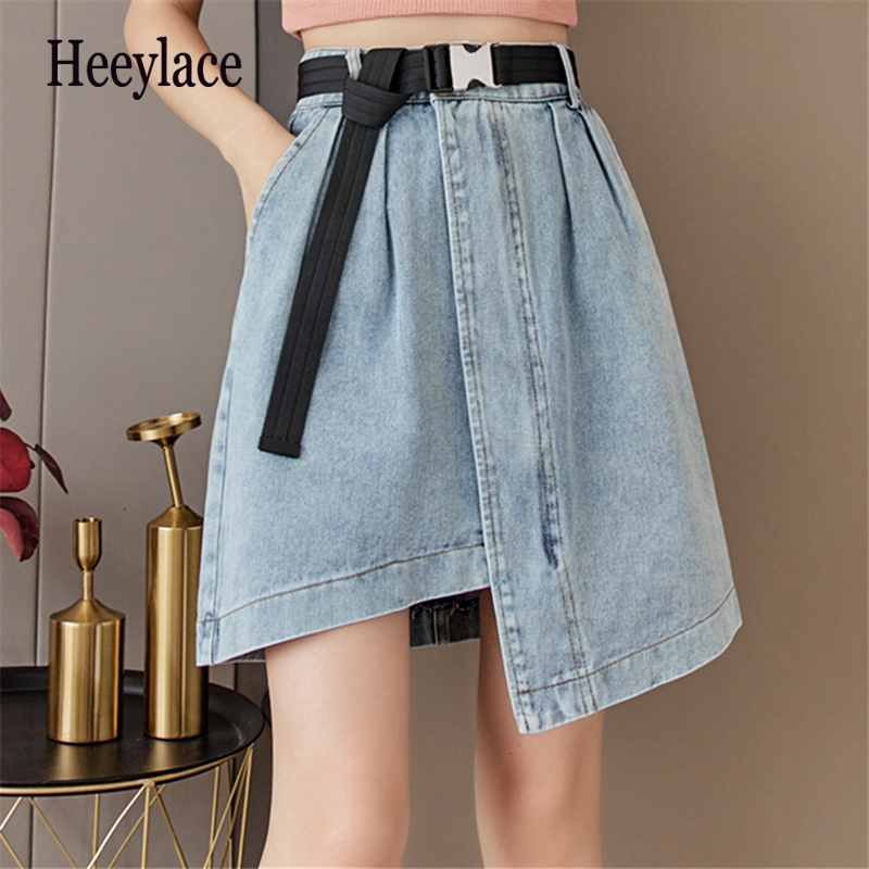 2021 New Summer Irregular Women's Denim Skirt Sashed High Wasit Casual Blue Jeans Female A-line Short Skirts Pockets