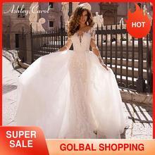 Ashley Carol Mermaid Wedding Dress 2020 Detachable Train 2 In 1 Long Sleeve  Sexy Appliques Bride Dresses Vintage Bridal Gown