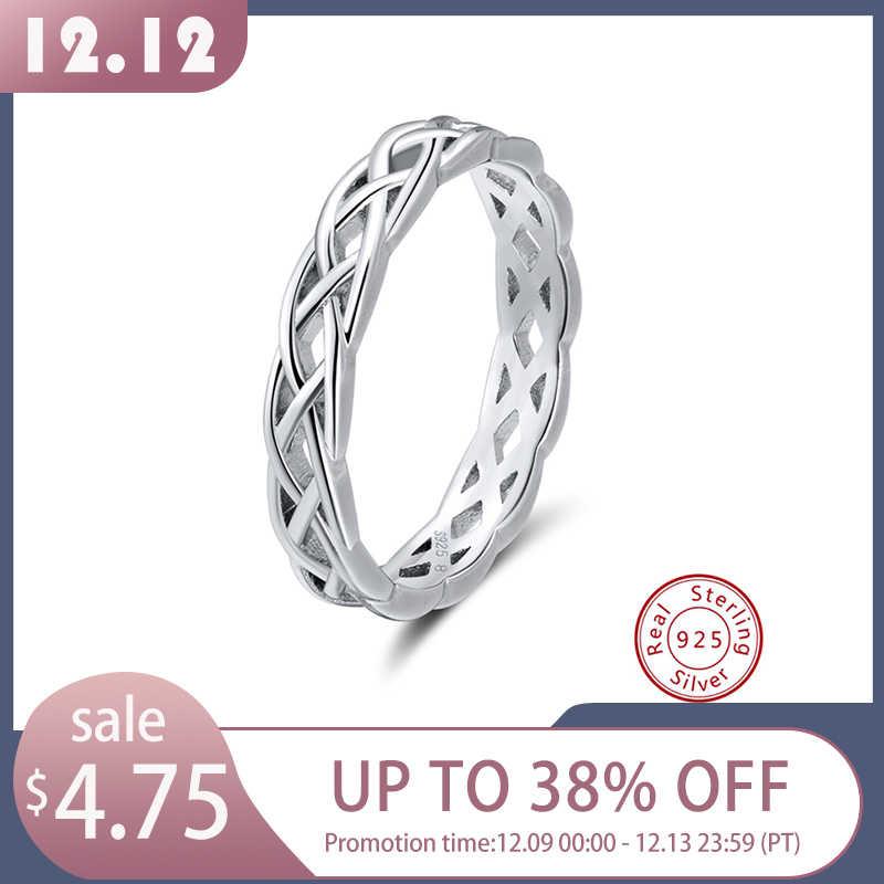 Orsa jóias 925 anéis de prata esterlina feminino única forma torcida anel redondo casamento banda moda jóias aniversário presente sr62