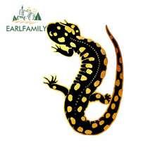 EARLFAMILY – autocollants de personnalité pour voiture, 13cm x 9.2cm, dessin animé, pour réfrigérateur, noir, doré, salamandre, pare-chocs