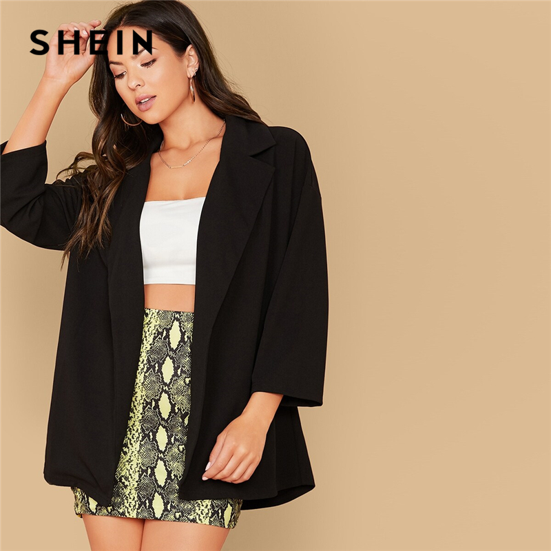 SHEIN Black Drop Shoulder Notch Collar Solid Coat Blazer Women Autumn Long Sleeve Oversized Casual Outwear Coats Without Belt