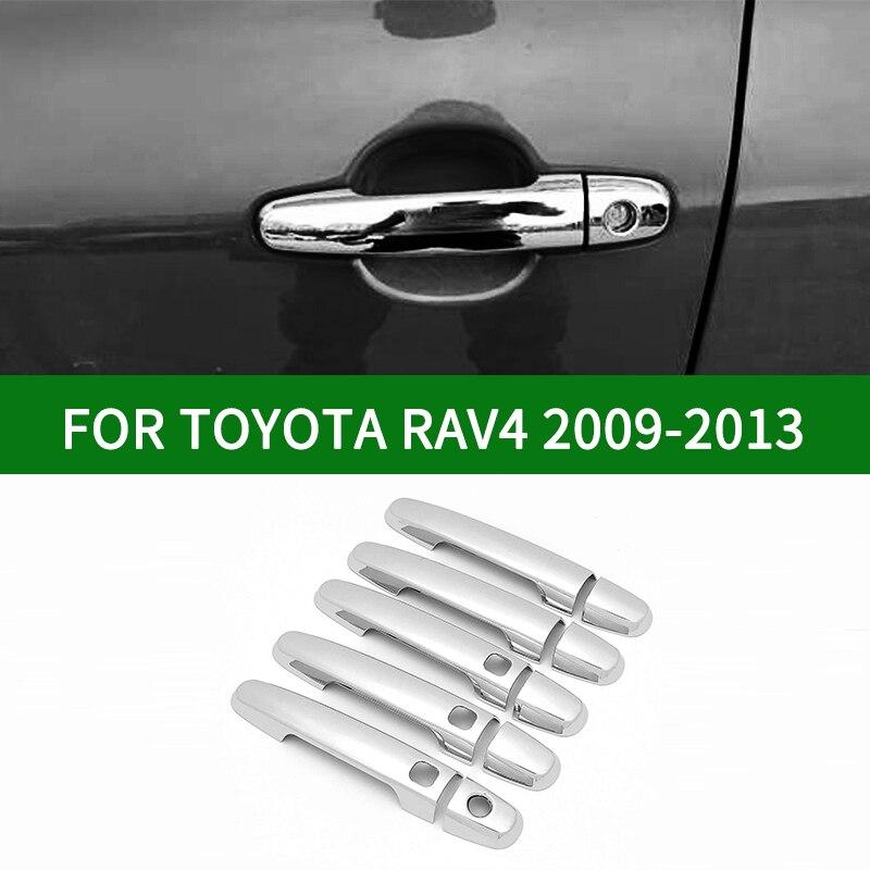Для 2009-2013 TOYOTA RAV4 2.4A 1.8A 2,0, пять дверей, хромированная Серебристая накладка на дверную ручку автомобиля, отделка 2010 2011 2012