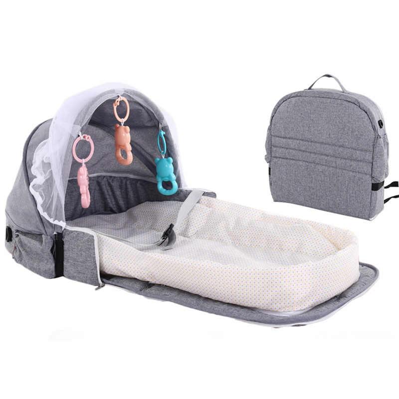 Portátil cama do bebê para o bebê recém-nascido dobrável berço viagem proteção solar mosquiteiro respirável cesta de dormir com brinquedos