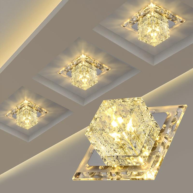 โคมไฟเพดานโคมไฟคริสตัล LED Square 3 W/5 W โมเดิร์นเรียบง่าย Flush MOUNT ไฟตกแต่ง FixtureHallway ห้องนั่งเล่น foyer