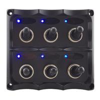 Waterproof 12 24V 6 Gang LED Car Boat Marine Toggle Switch Panel with Fuse