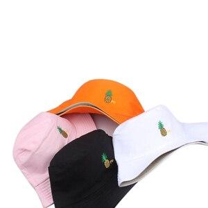 Hombres Mujeres piña cubo sombrero Hip Hop pescador Panamá sombreros bordado algodón al aire libre verano Casual Swag Bob Visor Bucket Cap