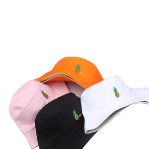 Homem feminino abacaxi balde chapéu hip hop pescador panamá chapéus bordado algodão ao ar livre verão casual swag bob visor balde boné