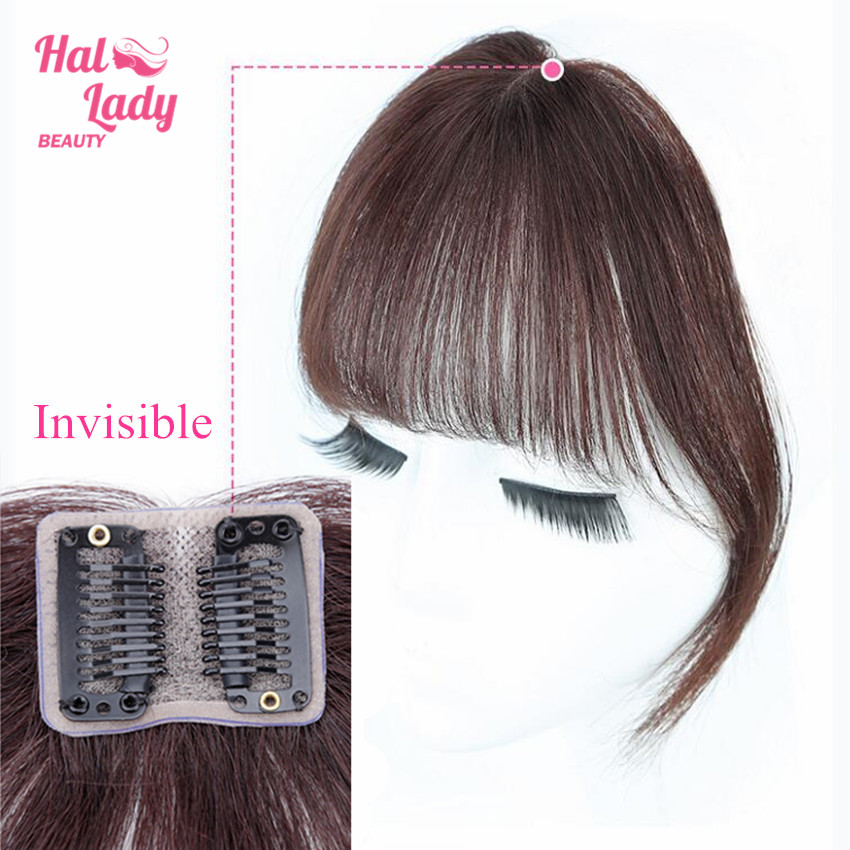 Halo Lady Beauty Clip In Bangs Human Hair Air Bang Brazilian Hair Pieces Invisible Seamless Non-remy Replacement Hair Wig
