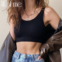 Vrouwen Tank Tops Streetwear Push Up Cropped Top Voor Vrouwelijke Lounge Effen Kleur Casual Sexy Lingerie Wirefree Hemdje Mode Meisje cheap All Of Me Cn (Oorsprong) Solid NONE women tops B086 Camisoles Tanks Polyester spandex black blue green red apricot one size for 40-70kgs
