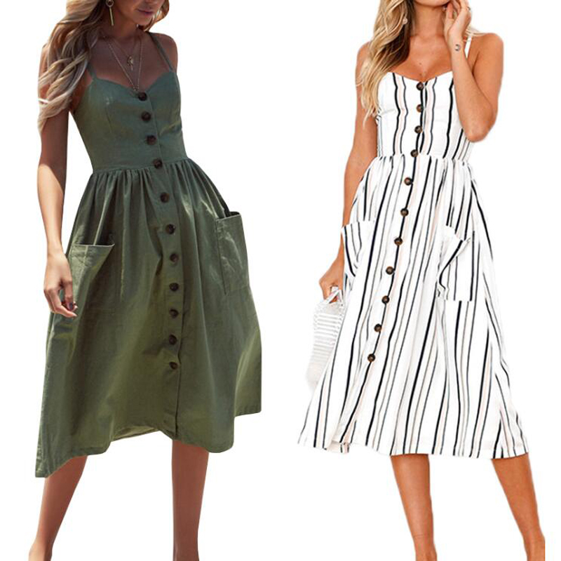 Casual Vintage Sundress Women 2020 Bohemian Sexy Dress Summer Midi Button Backless Beach Polka Dot Striped Print Dress Plus Size