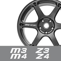 For BMW M1 Homage 40i M2 F87 M3 E90 E92 M4 M5 M6 Z1 Z3 E36 Z4 E89 Z8 E52 Auto Accessories 4PCS Car Wheel Rim Sticker Vinyl Decal