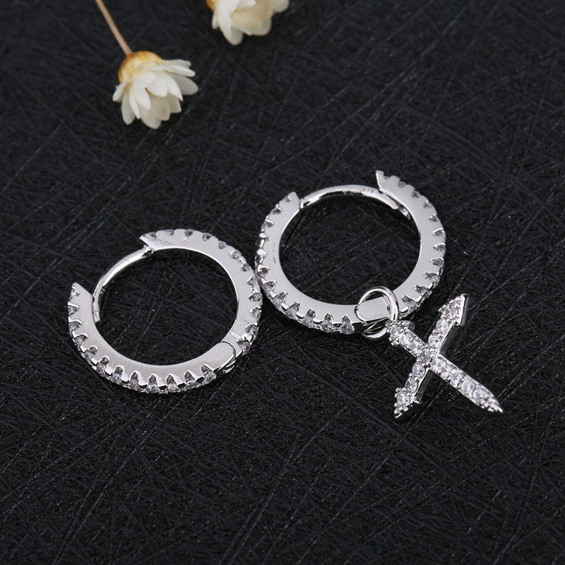 fashion cute Cross hoop Earrings Luxury Brand Pave quality Crystal Asymmetry Cross hoop Earrings For Women Korean Jewelry 2020