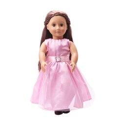 18 дюймов американская кукла для девочек Розовое Кружевное платье принцессы Одежда для новорожденных детские игрушки подходит; Большие раз...