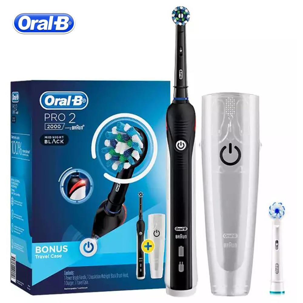 Oral B, Ультразвуковая электрическая зубная щетка, отбеливание зубов, перезаряжаемая, PRO2000, 3D, умная зубная щетка, для взрослых, для ежедневного... - 4