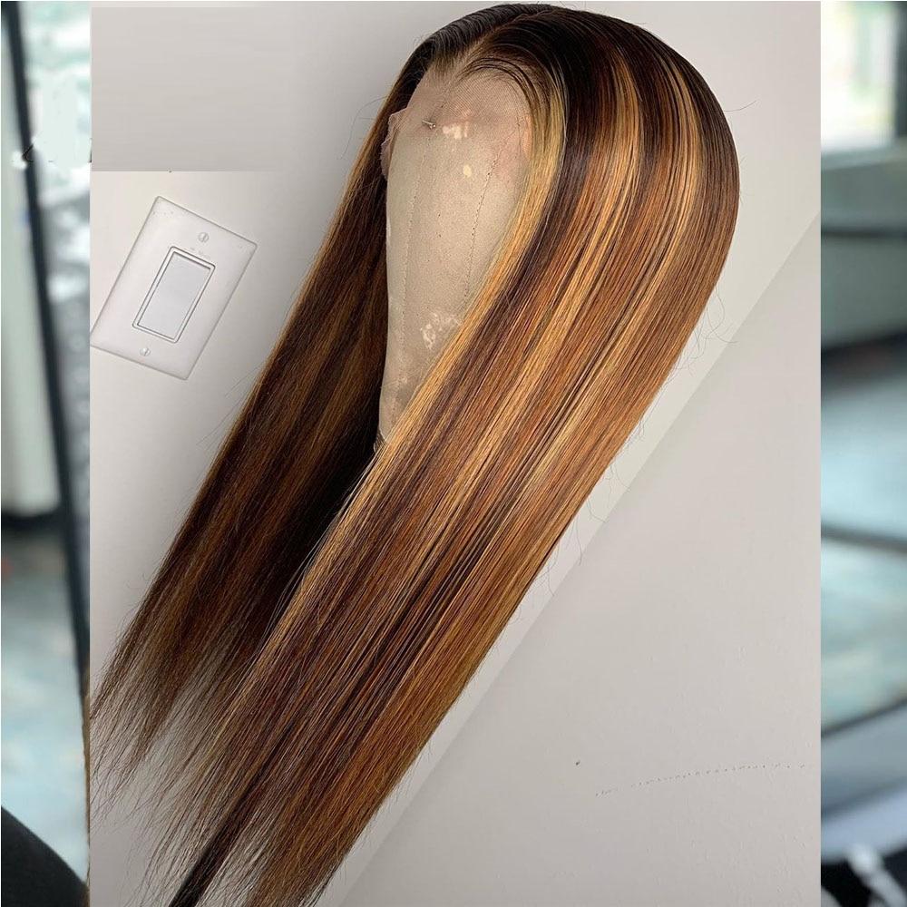 Brun miel blond couleur pleine dentelle avec faux cuir chevelu perruques Ombre mettre en évidence perruque de cheveux humains faux cuir chevelu noir dame Remy droite - 5