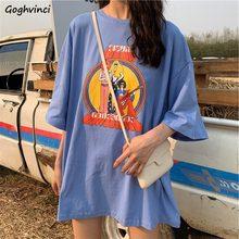 Verano media Camisetas manga larga de las mujeres estilo coreano estilo Casual cuello redondo estampada de moda holgado de talla grande transpirable Ulzzang