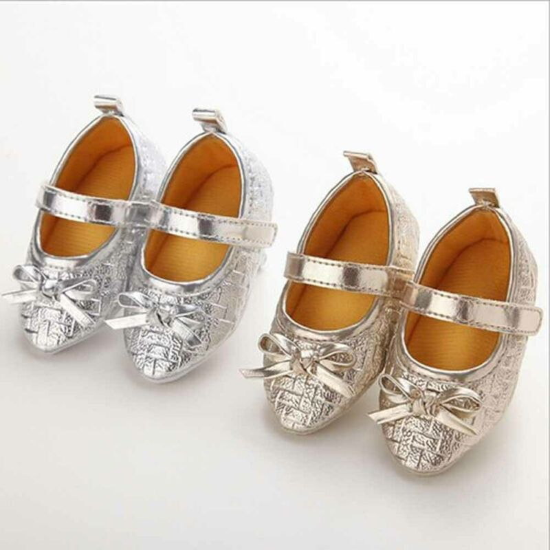Fashion Newborn Baby Girl High Heels Sole Shoes Toddler Bowknot Princess Crib PU Shoes Photography Props