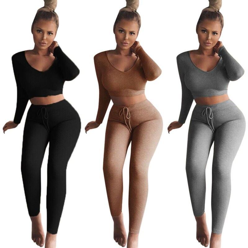 Hirigin Stylish Women New Long Sleeve V Neck Solid Color Drawstring Skinny Crop Tops High Waist Pants 2pcs