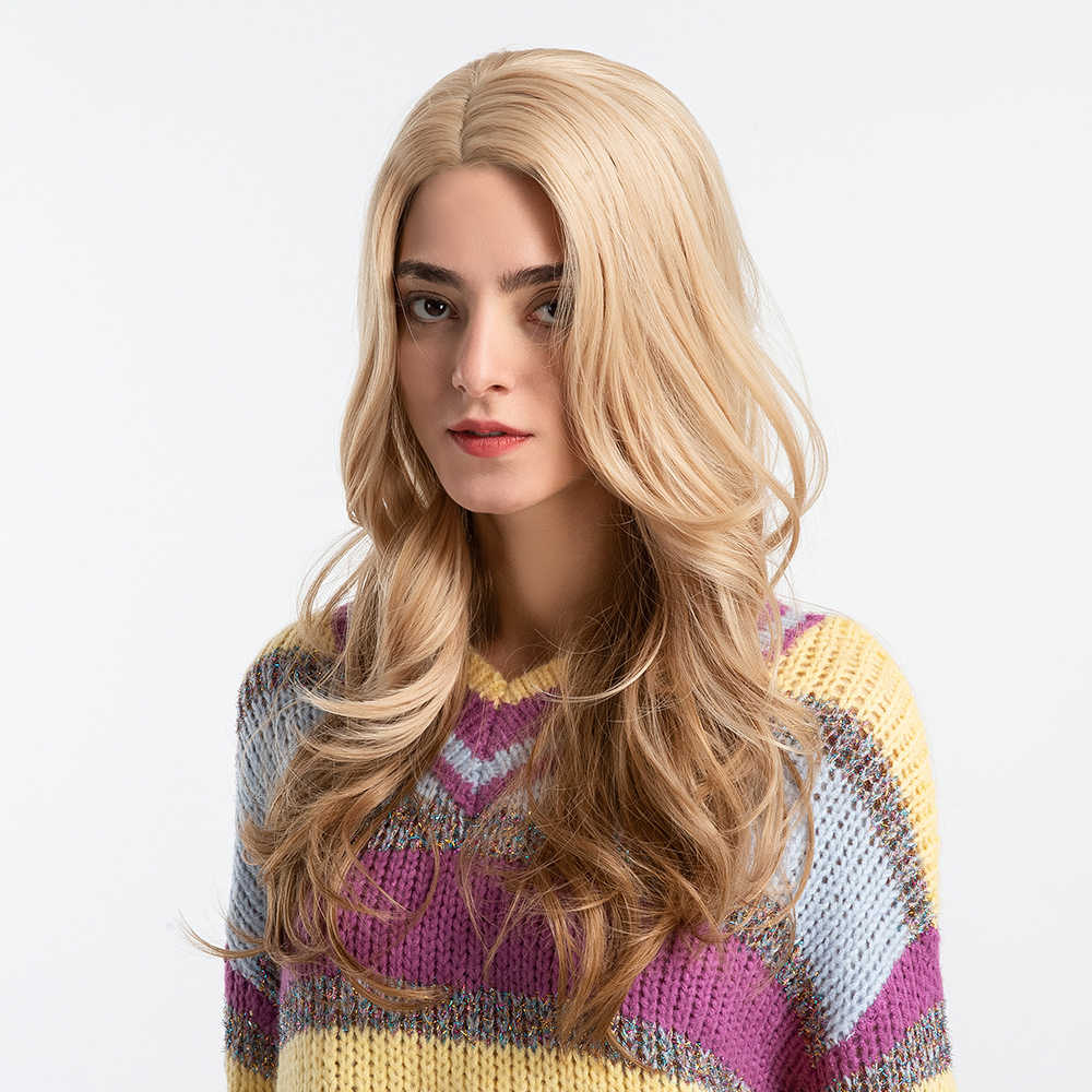 Długie blond brązowe faliste peruki z grzywką dla kobiet syntetyczne czarne czerwone kobiece Cosplay naturalne peruki włókno termoodporne włosy peruki