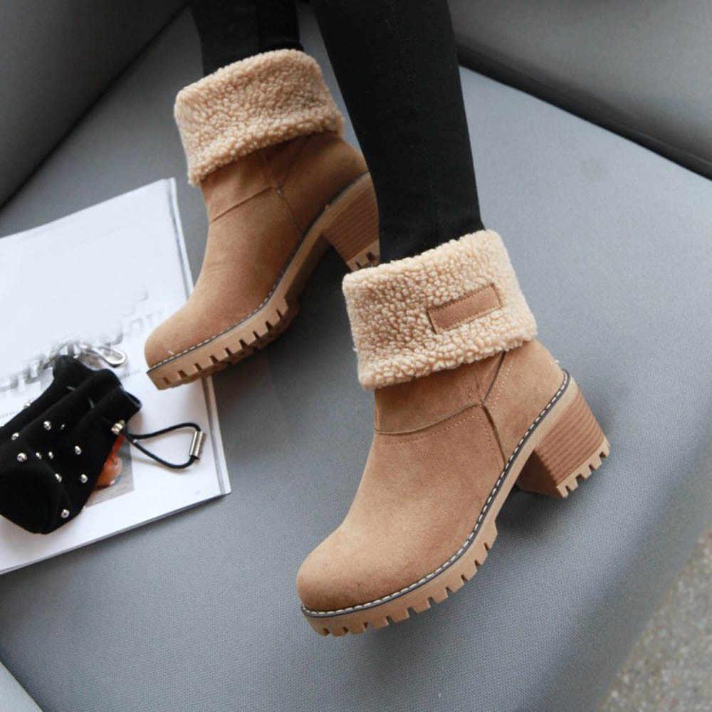 Botas de nieve cálidas de piel de Invierno para mujer, botas de lana abrigadas para mujer, zapatos cómodos de talla grande 35-43 para mujer # YL5