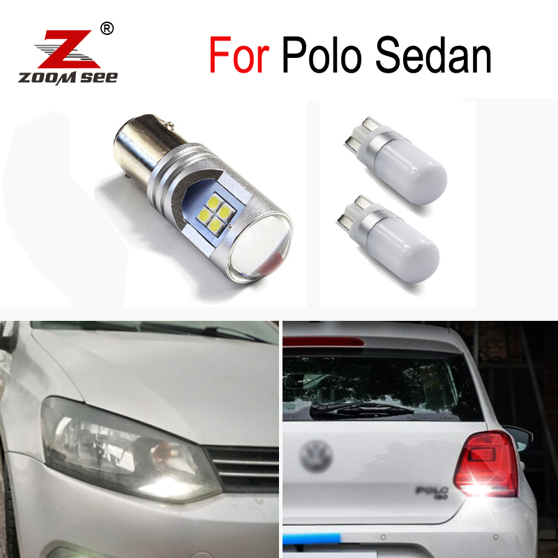 3Pcs <font><b>Canbus</b></font> Error Free white <font><b>LED</b></font> Reverse backup bulb + Parking light For <font><b>VW</b></font> Polo Sedan Saloon 2011 2012 2013 2014 2015 image