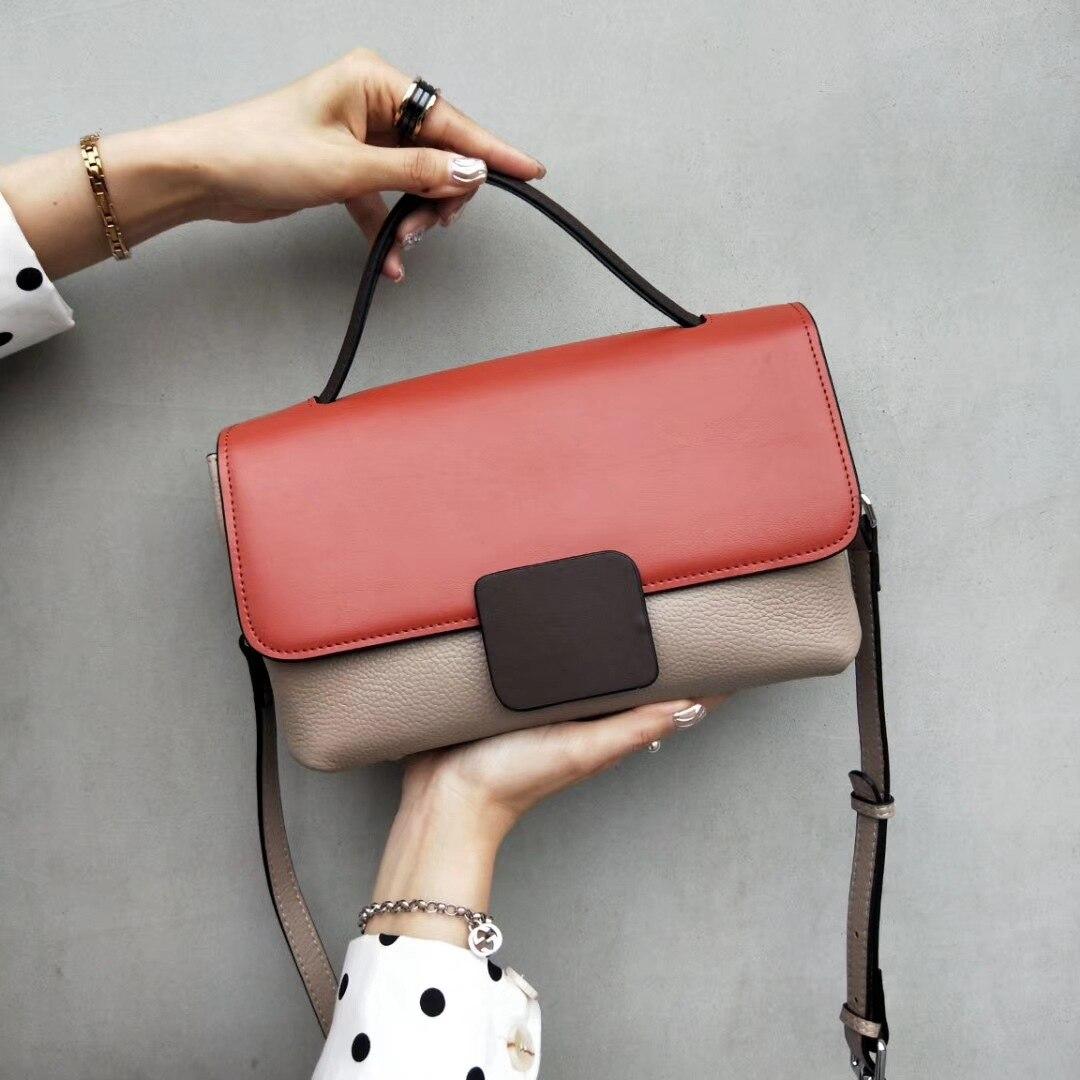 2019 New Leather Lady Handbag Simple Fashion Single Shoulder Slant Bag Large Capacity
