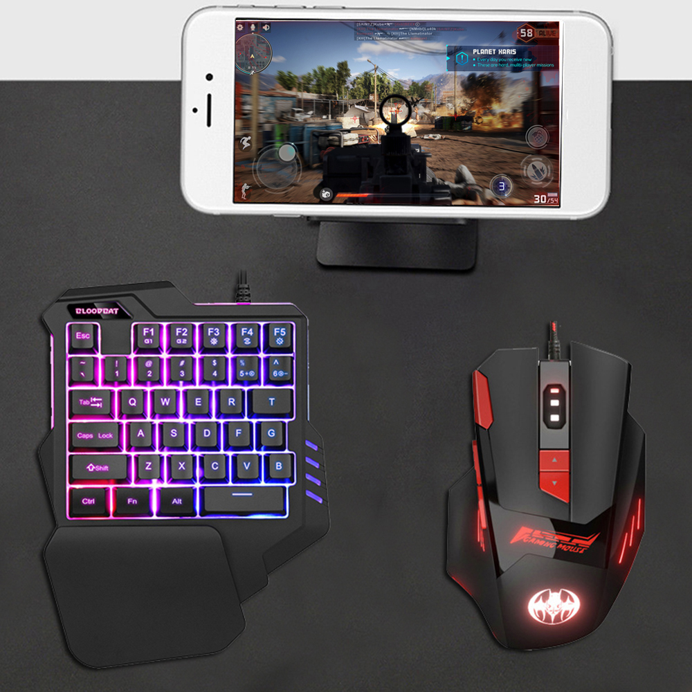 Game Keyboard Mouse Combos XT60 Color Wired Backlight One-Handed Keyboard And Mouse Gaming Keyboard For PC Gamer