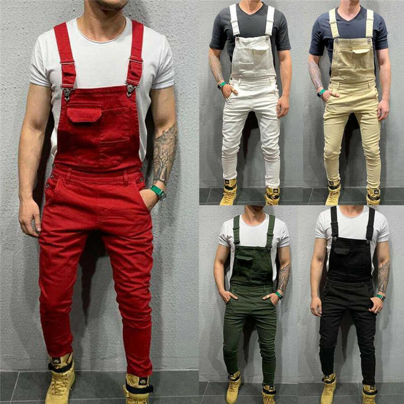 UK Mens Slim Cargo Bib Pants Dungarees Long Jumpsuit Romper Overalls Trousers