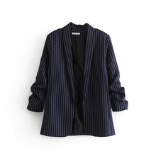 Hot Sale 2020 New Arrival Notched Full Feminino Jaqueta Feminina Blazer Women Blazers Jackets Clothing Winter Fold Striped None