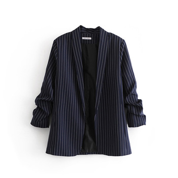 Hot Sale 2020 New Arrival Notched Full Feminino Jaqueta Feminina Blazer Women Blazers Jackets Clothing Winter Fold Striped None