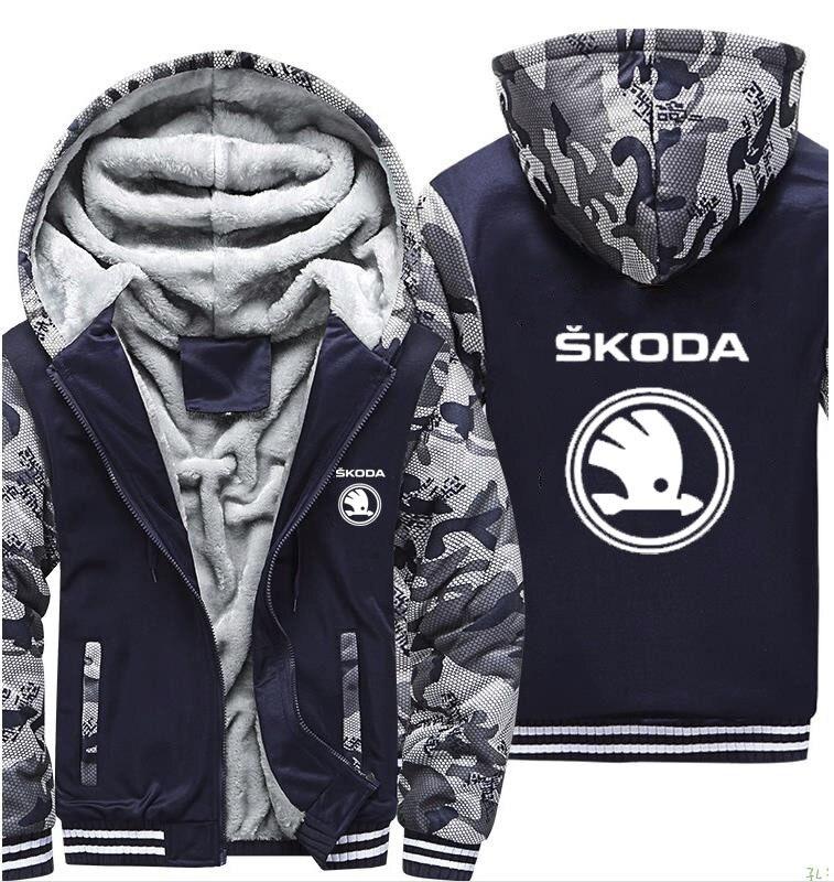Толстовки мужские для автомобиля Skoda с принтом логотипа куртки мужские s толстовки Зимний толстый теплый флис хлопок молния камуфляж реглан
