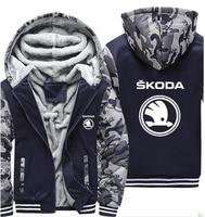 Hoodies Men Skoda Car Logo Print Jacket Mens Hoodies Winter Thicken Warm Fleece cotton Zipper Camouflage Raglan Mens Coat Jacket