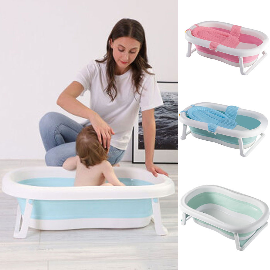 Easy Folding Baby Bath Tub Portable Baby Shower Eco-friendly Newborn Bathtub Tubs With Non-slip Cushion Adjustable Kids Bathtub