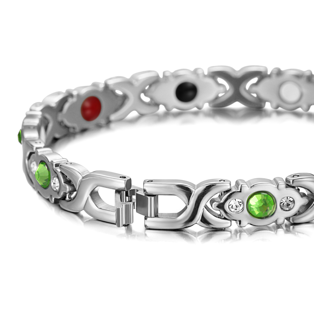 Image 4 - RainSo Stainless Steel Link Chain Charm Magnetic Germanium Far Infrared Bracelet For Women Fashion Femme Bangles JewelryChain & Link Bracelets   -