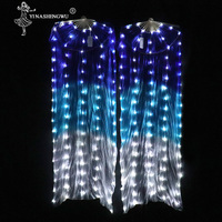 Belly Dance LED Fan Accessories Light LED Silk Fans Shiny Women LED Light 1 pair Belly Dance Veil Performance Props With Battery