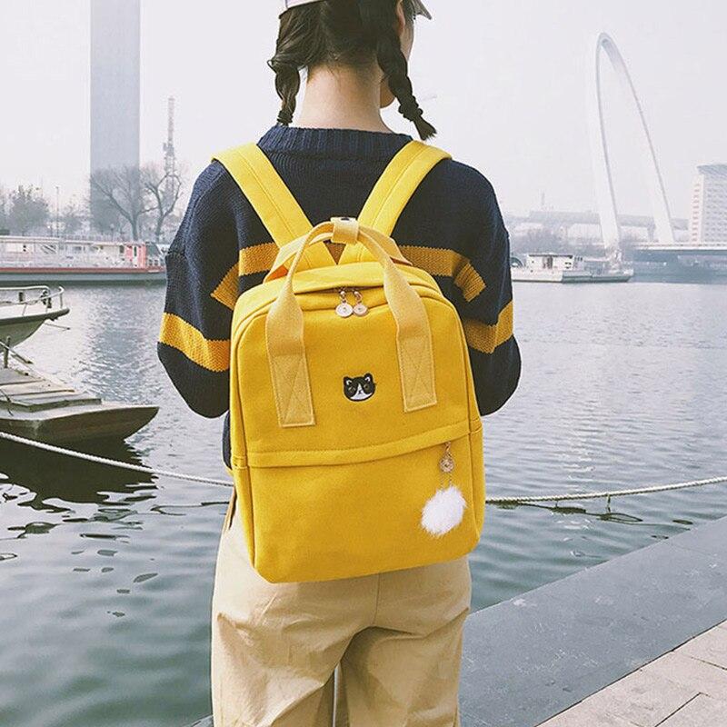 Women Canvas Backpacks Large Capacity Preppy Teenagers Girls School Bag Ladies Fashion Cat Hairball Pendant Travel Shoulder Bags