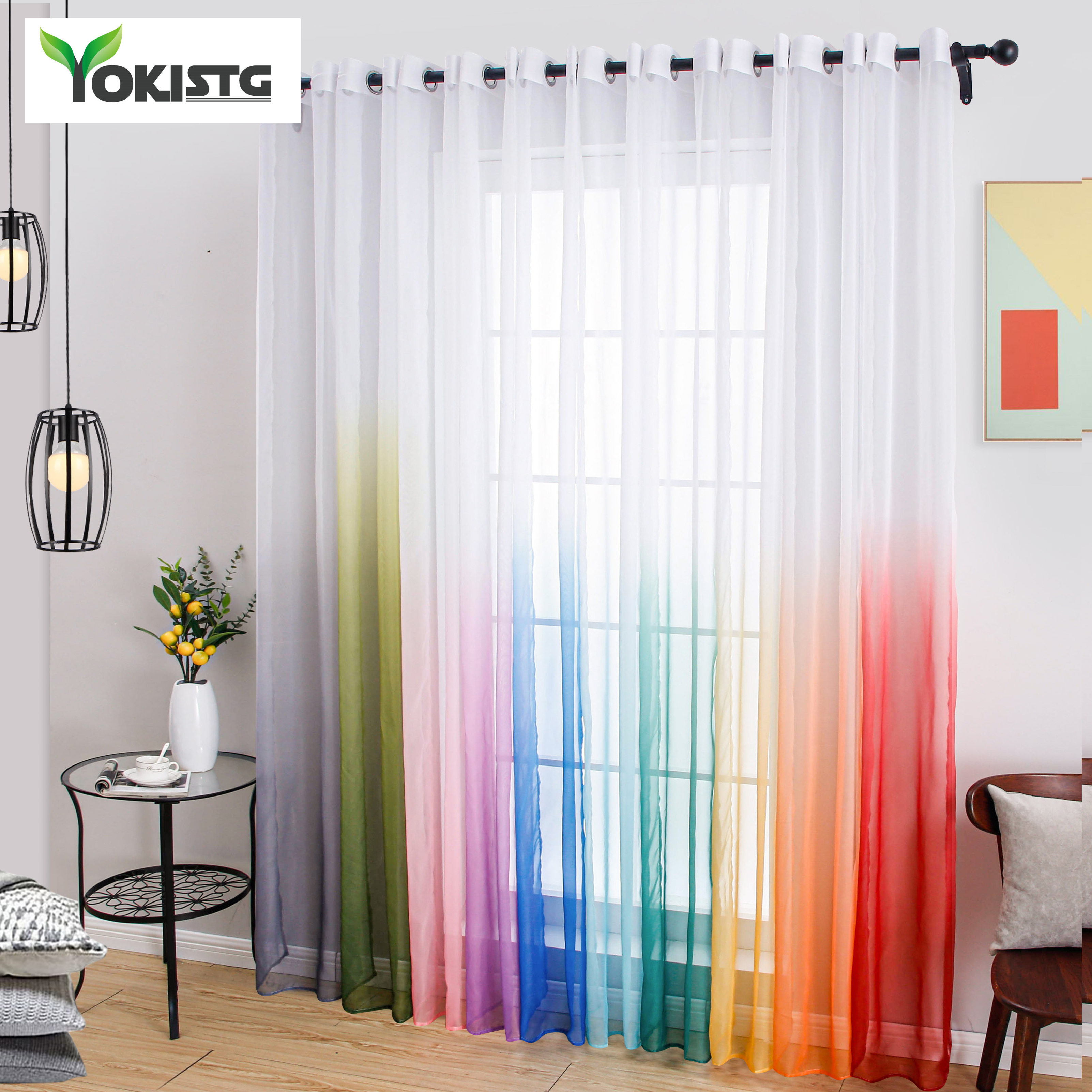 YokiSTG Gradient Tulle Sheer Curtains For Living Room Bedroom Kitchen Transparent Curtains Home Decor Window Treatment Drapes