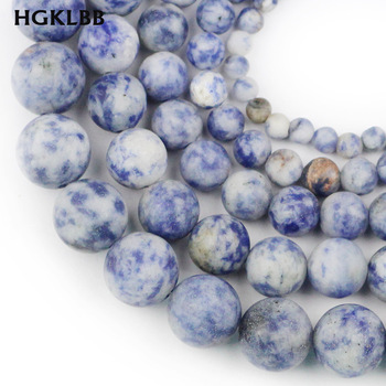 HGKLBB Natural Stone Matte blue point white Round Loose Spacer Beads For Jewelry Making DIY Necklace Bracelet 4 6 8 10 12mm image
