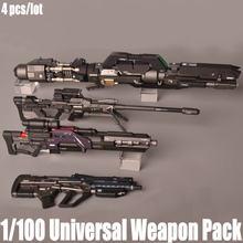 Gundam 1/100 pacote de arma universal sniper rifle foguete lançador com luz led montado figura ação modelo brinquedos