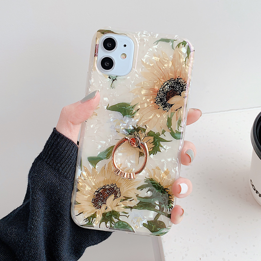 LOVECOM Retro Floral Ring Stand Phone Case For iPhone Models 3