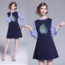 Autumn new peacock female temperament stripe embroidery dress horn sleeve splicing the a-line dress big pendulum new dew shoulder design clothes the horn sleeve beautiful stripe girls blouses