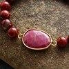 Bracelet Pierres Porte-Bonheur Médaillon Jaspe Rouge